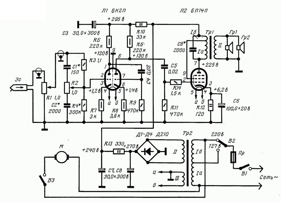 Схема лампового УНЧ на лампах